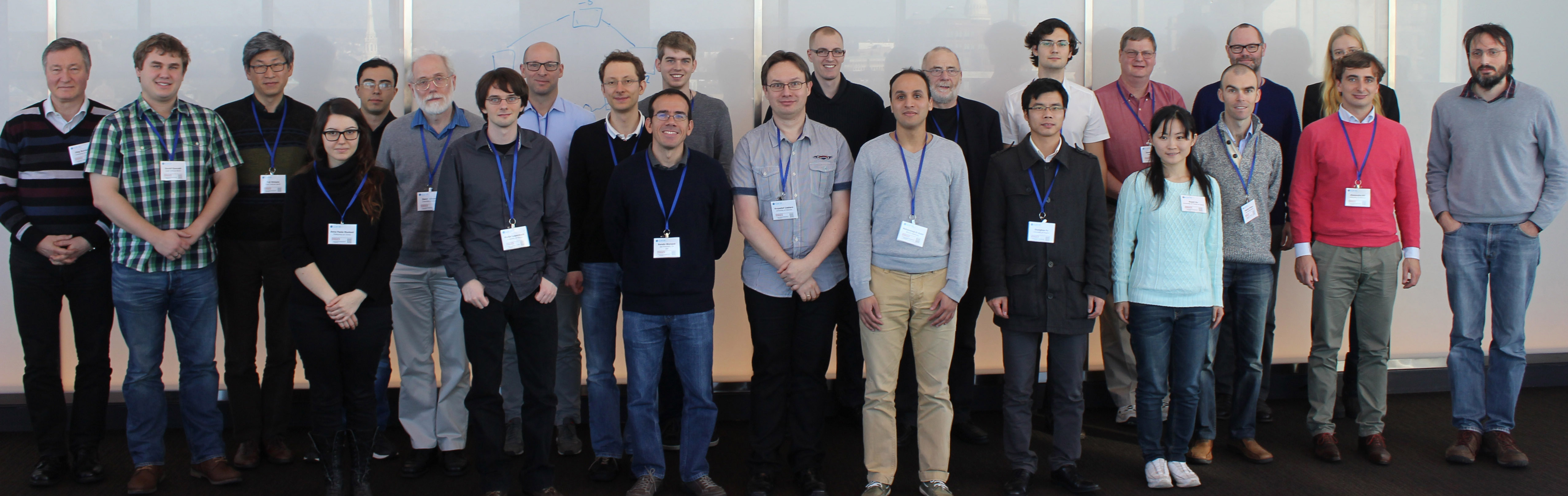 Attendees of the 11th DIMACS Implementation Challenge in       2014. (David Johnson is sixth from left.)